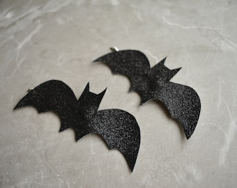 Black Glitter Bat Hair Slides