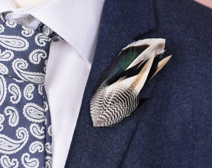 Navy and Ivory Duck Feather Lapel Pin Small No.75