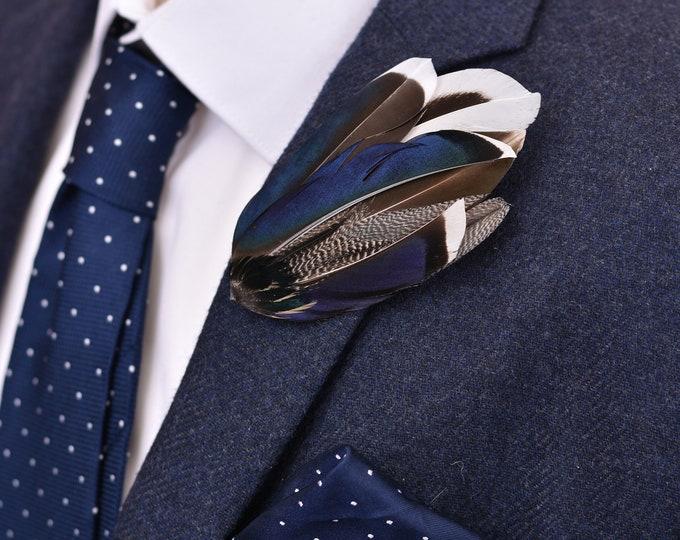 Navy Blue Mallard Duck Feather Lapel Pin Brooch No.9