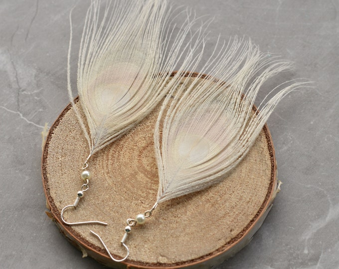 White Peacock Feather Earrings with Swarovski Pearls