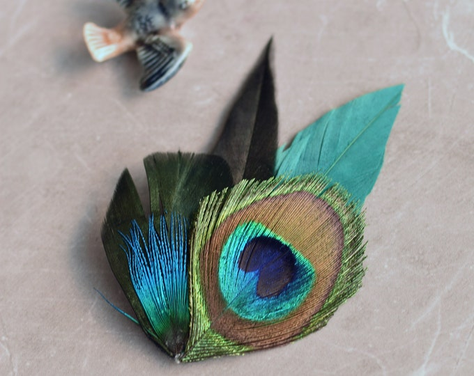 Teal and Black Peacock Feather Lapel Pin