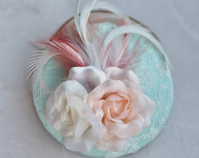 Mint Pastel Fascinator with Roses and Feathers | Mint Green Hat | Feather Fascinator | Roses Fascinator | Wedding Fascinator