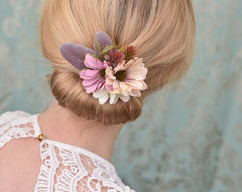 Silk Flower Hair Clip in Pink and Ivory Daisies and Lambs Ears Leaves