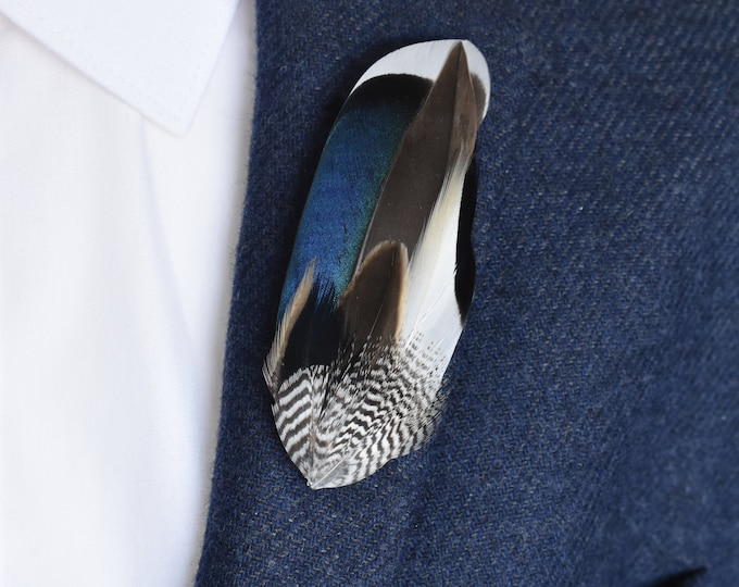 Mallard Duck Feather Lapel Pin Brooch
