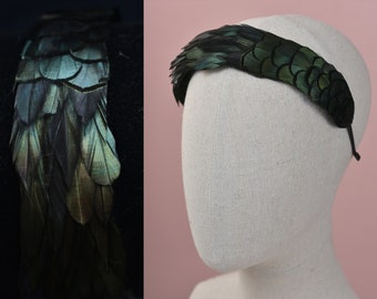 Feather Headband in Glossy Black Feathers with Green Iridescence