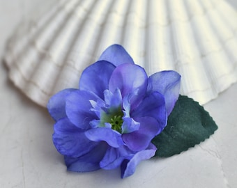 Delicate Blossom Flower Hair Clip in Blue