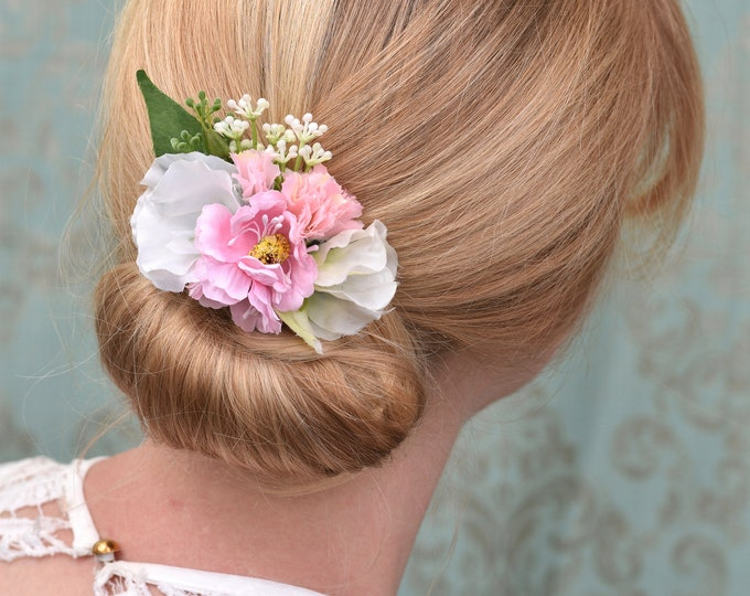Anemone and Sweetpea Flower Hair Clip in Pinks and White