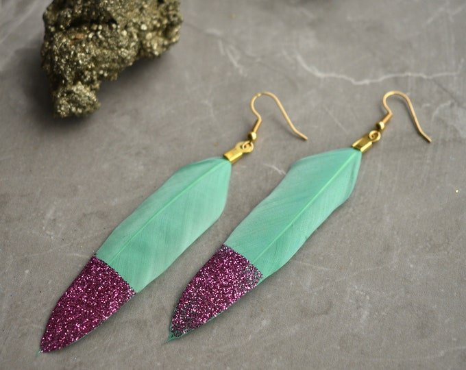Pastel Mint Green Feather Earrings with Pink Glitter Tips