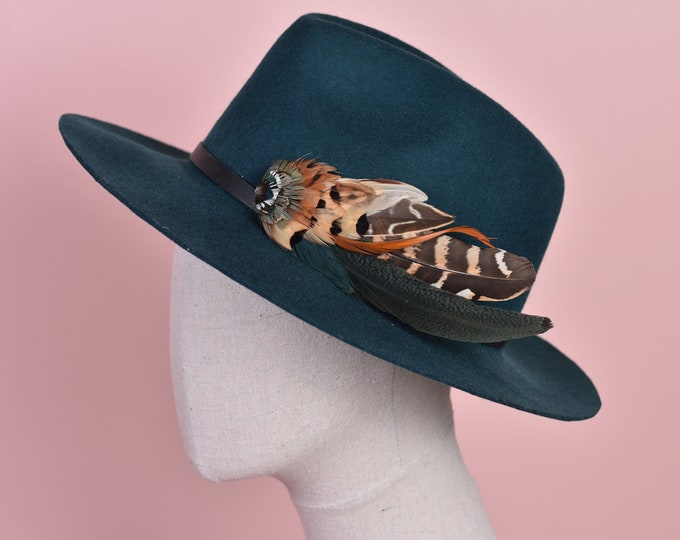 Green and Copper Pheasant Feather Hat Pin No.168