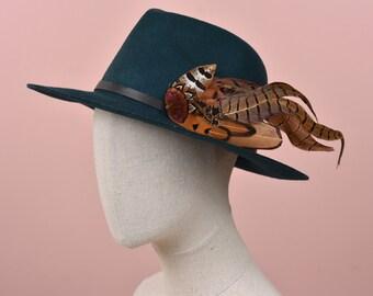 XL Copper Pheasant Feather Hat Pin No.214