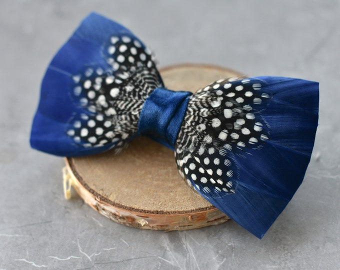 Feather Bow Tie in Navy Blue and Polka Dot