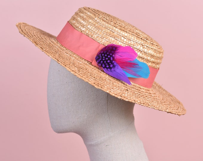 Pink, Purple and Turquoise Clip on Feather Hat Pin Small No.105