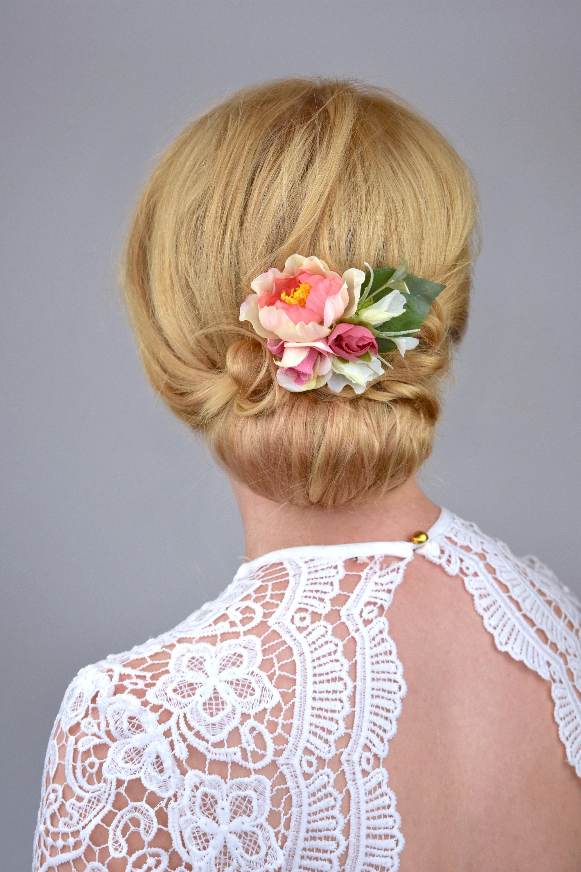 Silk Flower Hair Clip In Pink And White Silk Flower Hair Etsy