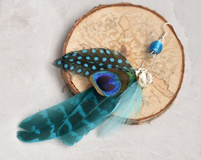Single Statement Ocean Blue Feather Tassel Earring No.016