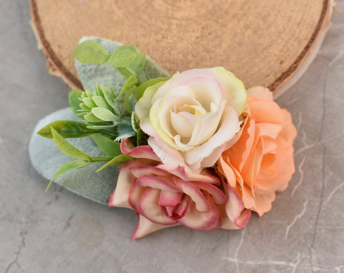 Artificial Flower Hair Clip in Pink, Peach and Ivory
