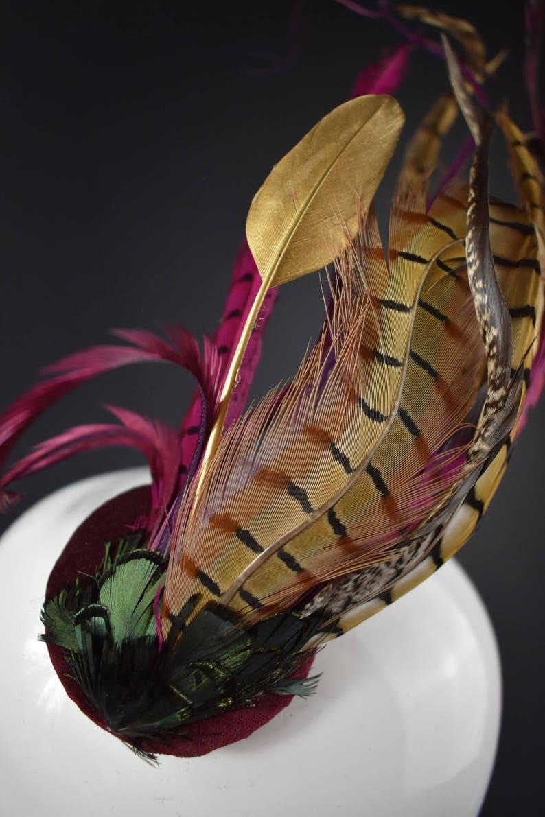Pheasant Headpiece Races Wedding Fascinator Plum and Gold Feather Fascinator Feather Headpiece Pheasant Feather Fascinator