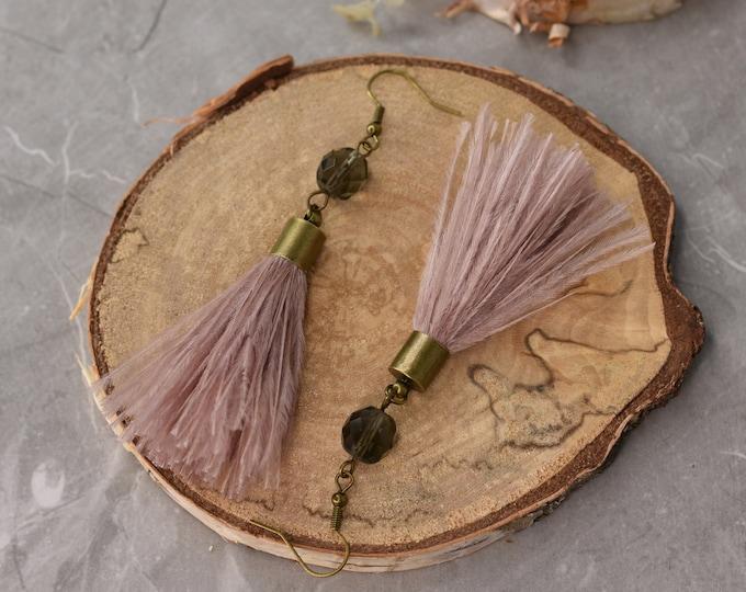 Dusty Blush Pink Ostrich Feather Tassel Earrings Medium