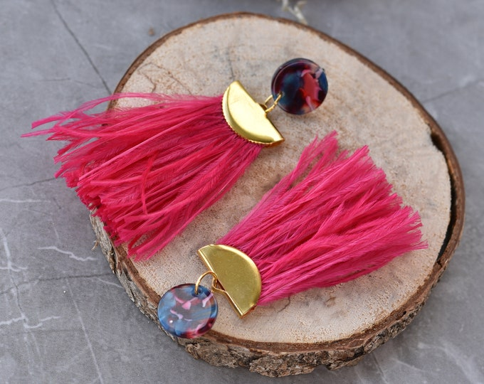 Hot Pink and Blue Acetate and Ostrich Feather Tassel Earrings