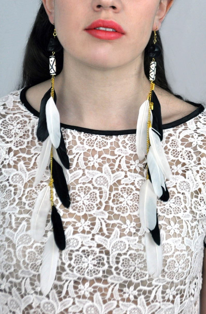 Skull Earrings Black and White Long Feather Earrings with Skull Beads Feather Jewellery Tribal Earrings Festival Earrings