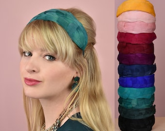 Soft Goose Feather Headband in Green, Navy Blue, Royal Blue, Teal, Black, Pink, Red, Plum Purple, Yellow