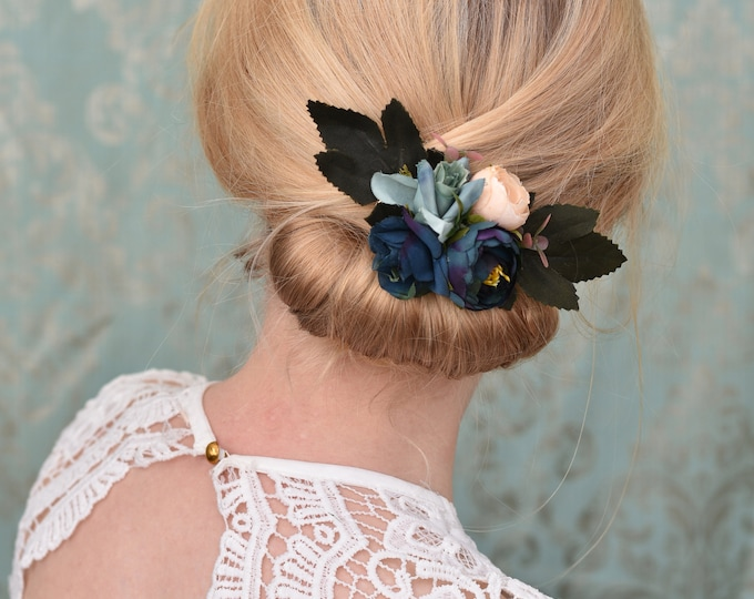Flower Hair Clip in Navy Blue Roses and Ranunculus