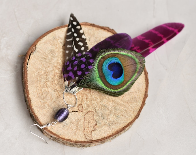 Single Statement Feather Tassel Earring in Pink and Purple No.014