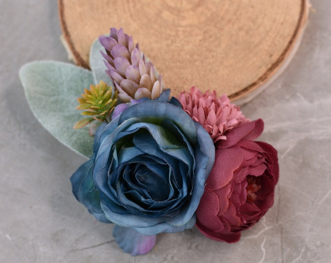 Flower Hair Clip in Plum and Navy Blue