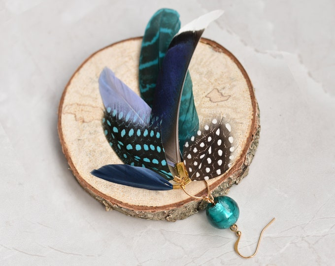 Single Statement Blue Feather Tassel Earring No.005