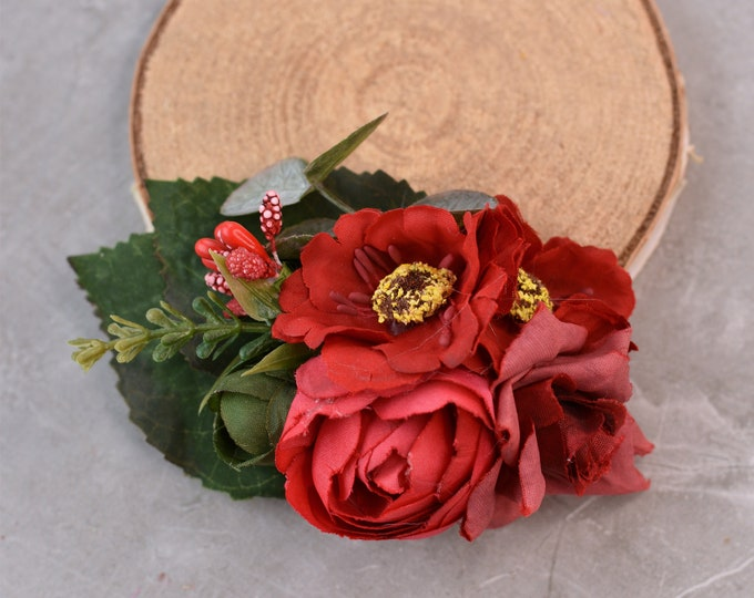 Red Rose, Ranunculus, Anemone and Berries Hair Clip