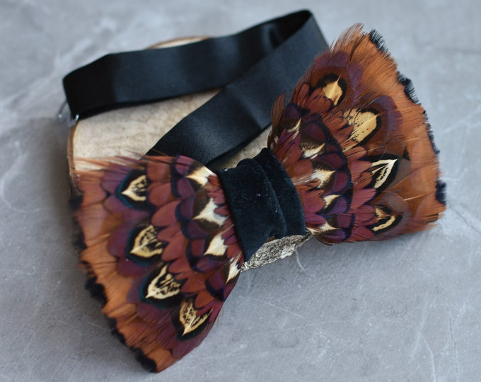 Feather Bow Tie in Bands of Pheasant Feathers in Copper
