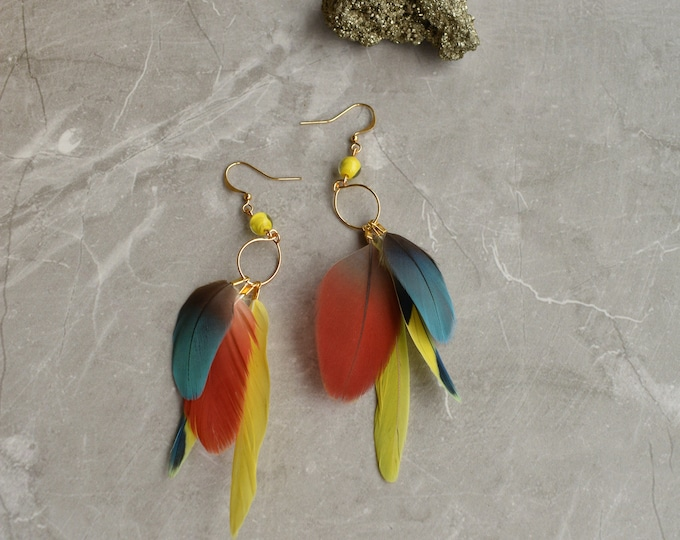 Tropical Feather Earrings No.13