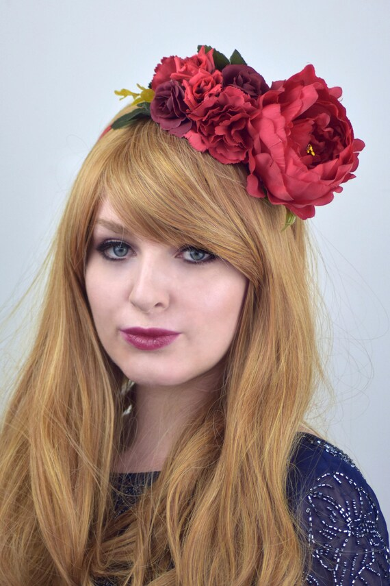 red half flower crown headband halloween flower crown peony flower crown red flower crown festival flower crown day of the dead