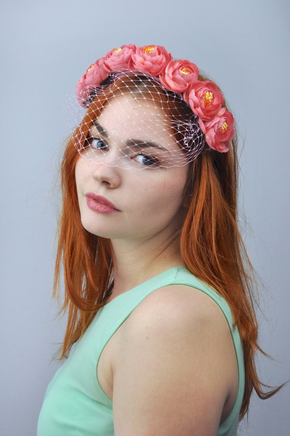 Lucy Pink Flower Crown Headpiece In With Birdcage Net Veil Etsy