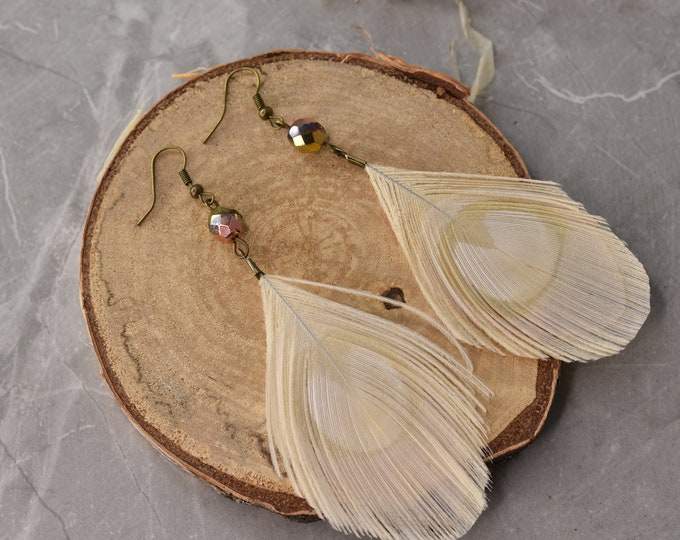 Large Ivory / White Peacock Eye Feather Earrings with Rose Gold Crystal