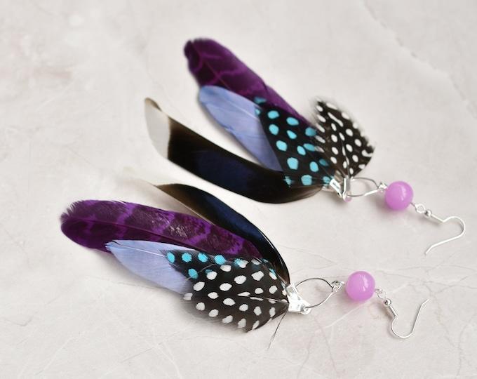 Statement Feather Tassel Earrings in Purple No.024