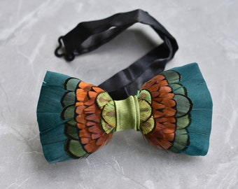 Pheasant Feather Bow Tie in Green, Copper and Gold