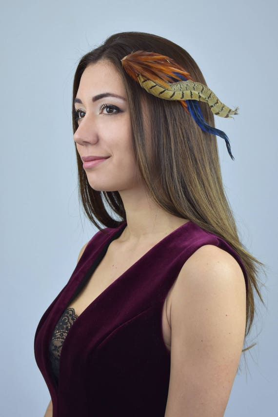 Feather Hair Clip In Copper And Navy Blue Feather Headpiece Etsy