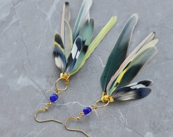 Blue, Yellow and Green Feather Earrings No.25