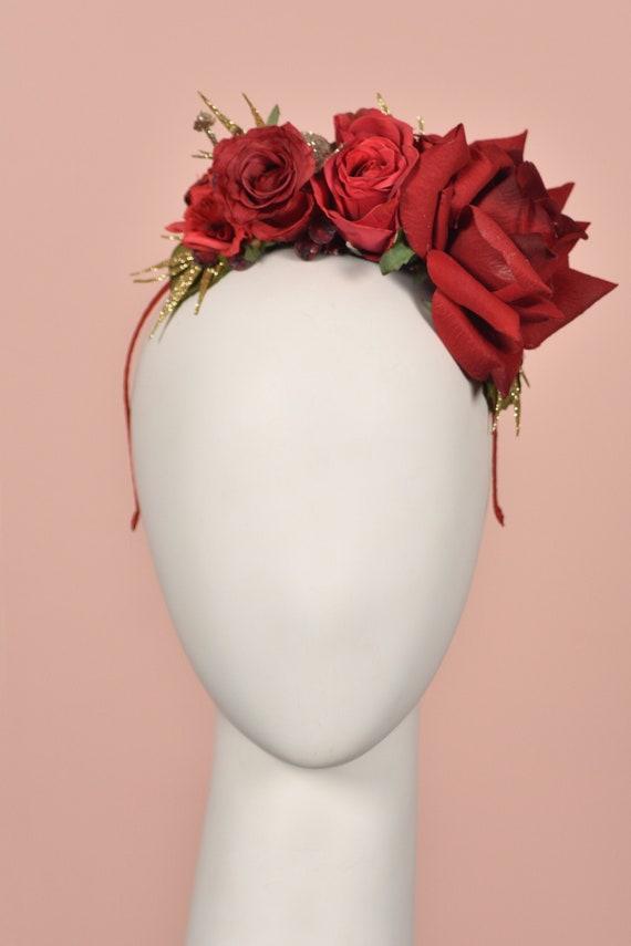 Berry-Red color felt flower headband