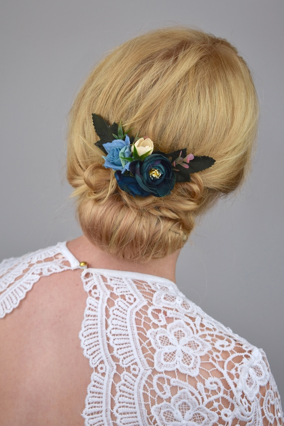 Silk Flower Hair Clip In Navy Blue Silk Flower Hair Clip Etsy
