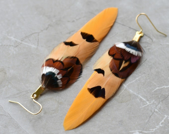 Mustard Yellow and Copper Pheasant Feather Earrings