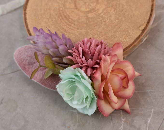 Flower Hair Clip in Pink, Peach and Mint