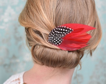Red and Polka Dot Feather Hair Clip No.18
