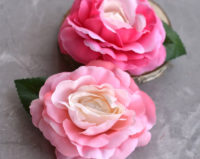 Pink or Mint Camelia Rose Hair Clip