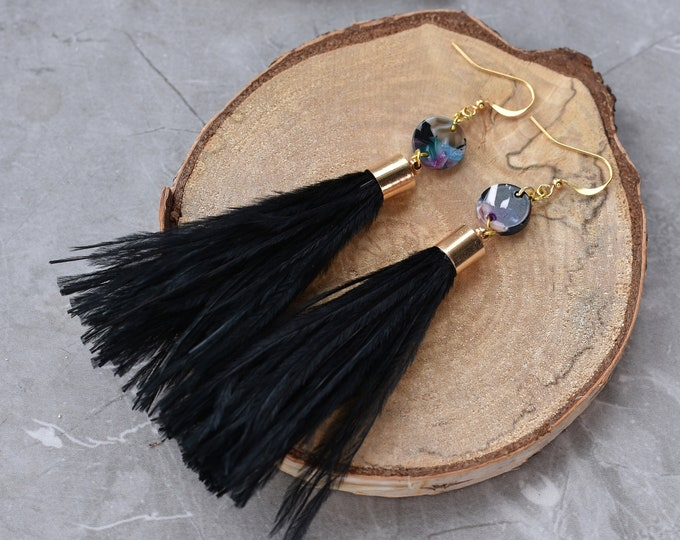 Black Ostrich Feather Tassel Earrings with Acetate Disc