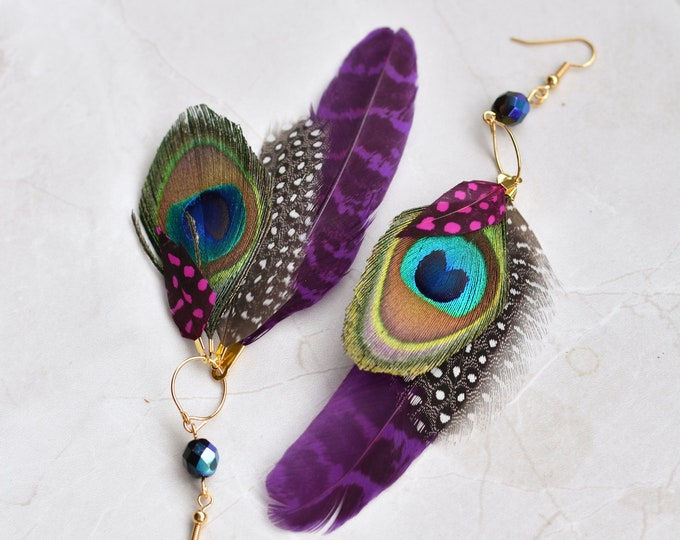 Statement Feather Tassel Earrings in Purple and Pink No.021
