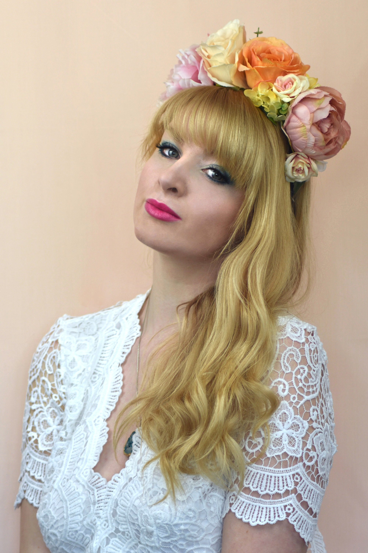 Amelia peach pink and orange flower crown headband izmirmasajfo