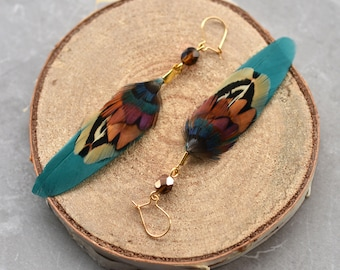 Teal, Copper and Rose Gold Feather Earrings