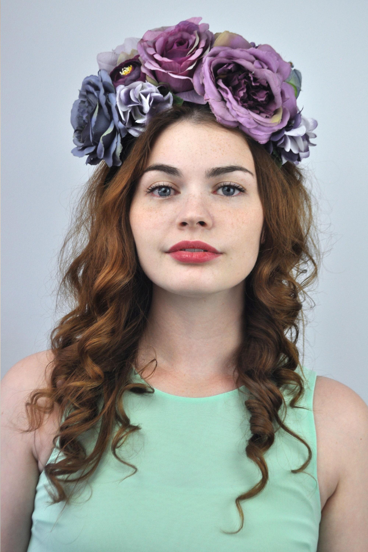 Luna purple flower crown headband izmirmasajfo