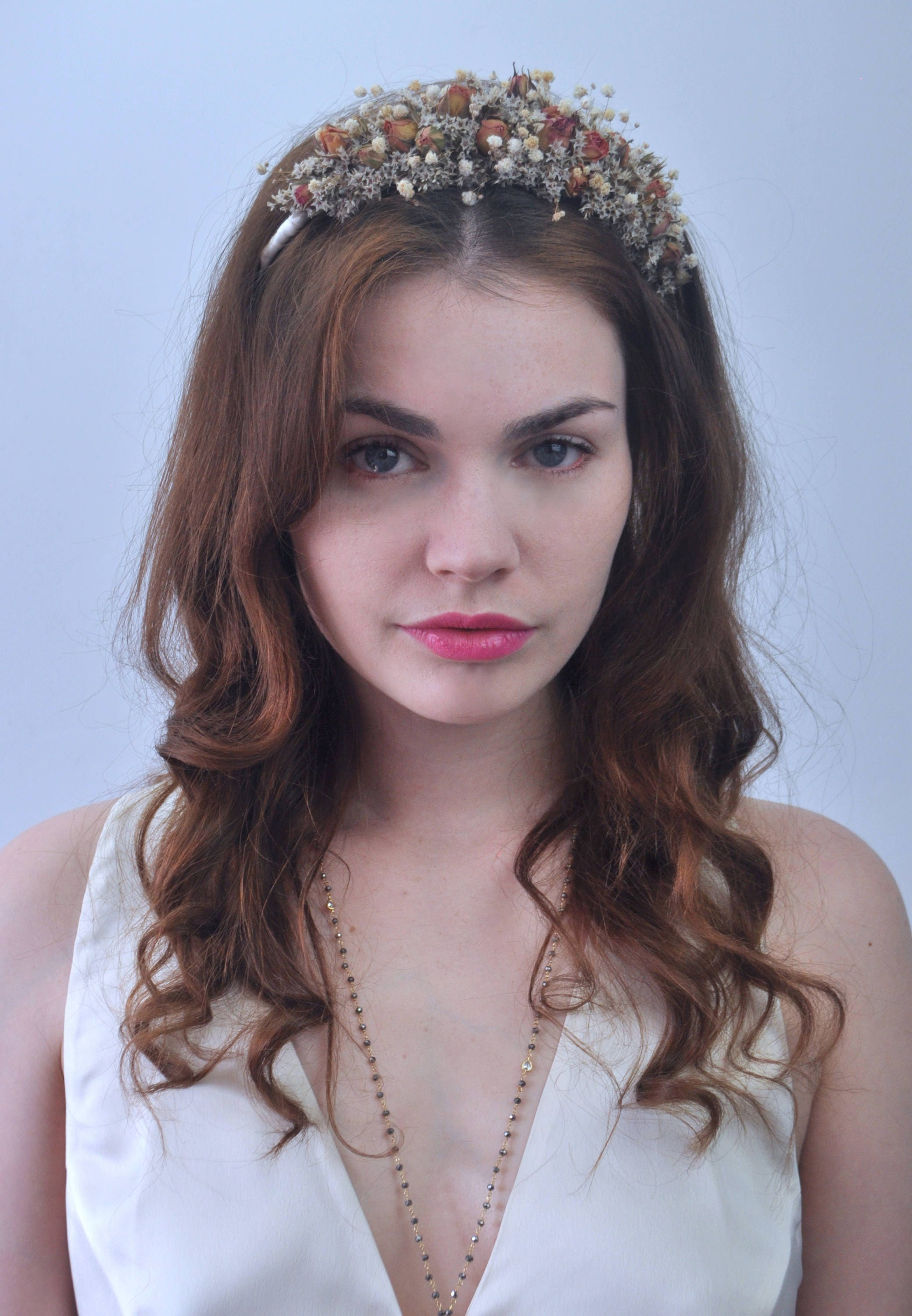 Dried Flower Crown Headband In Off White With Apricot Rose Buds